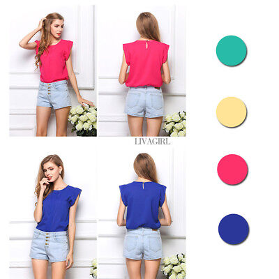 Girl Summer Simple Sleeveless Chiffon Blouses Sexy Simple Party Daily Tops