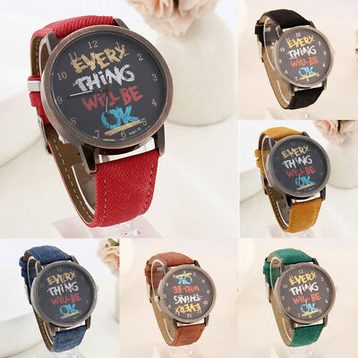 Unisex Watches Canvas Strap Men Graffiti Denim Retro Women Wristwatches Gift