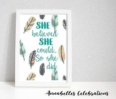 Nursery Print for Girl - Baby Nursery Bedroom Wall Art Decor Teal Turquoise