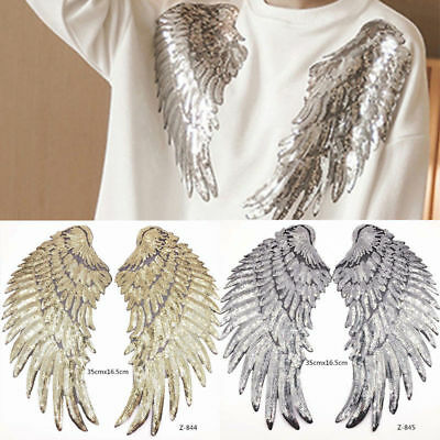 1Pair Golden/Silver Sequin Beaded Angel Wings Patch Iron on Applique Embroidery