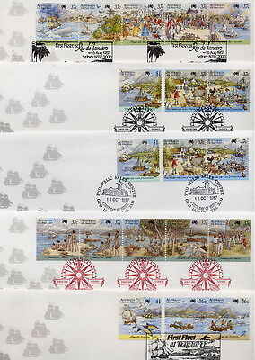 First Fleet First Day Covers  (5)  New  &  Very Cheap