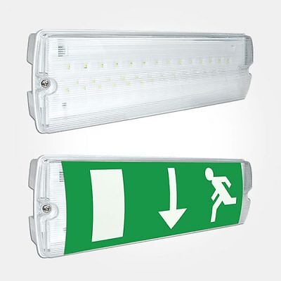 LED EMERGENCY LIGHT BULKHEAD EXIT SIGN IP65 MAINTAINED/NON MAINTAINED £9.58+vat