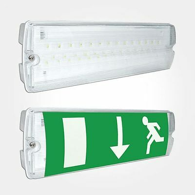 LED EMERGENCY LIGHT BULKHEAD EXIT SIGN IP65 MAINTAINED / NON MAINTAINED-£11.86ea