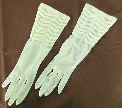 Exquisite palest lemon vintage semi-sheer beaded dress gloves size 6.5