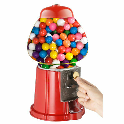 Red Gumball Dispenser Machine Money Bank With Bubble Gum Coin Operated Toy Fun