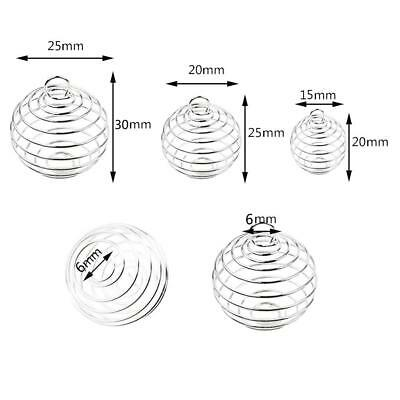 Silver Plated Spiral Bead Cages Pendants for Jewelry Charm Findings Making BA AU