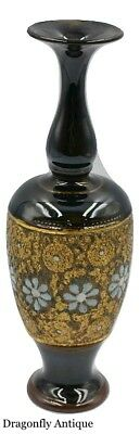 Royal Doulton Lambeth Black Gold Vase Antique 1930s Baluster