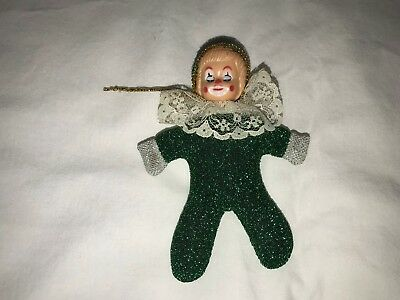 Vintage Sleepy Eyes Clown Doll Hand Made Green Ornament Collectible 4 5 Inches