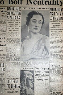 1936 Minnesota Newspaper Page - Wallis Simpson Divorce & Engalnd's King Edward