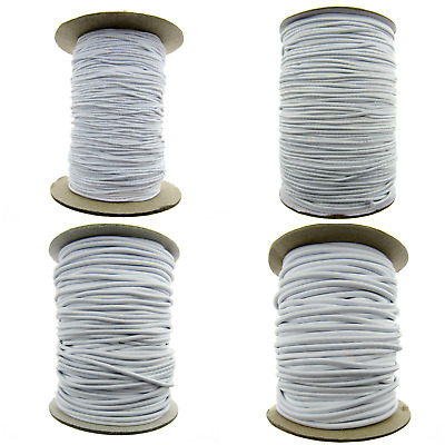 ** White Round Elastic for Beading / Millinery / Crafts /1mm / 1.5mm / 2mm / 3mm