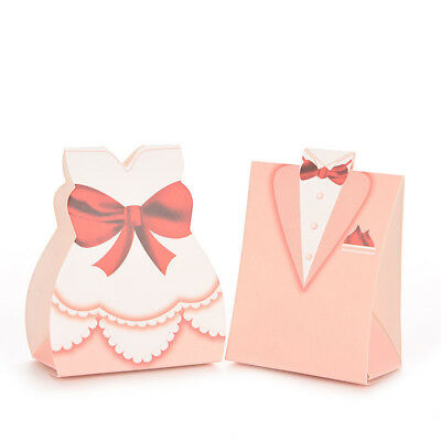 100X Bridal Gift Cases Groom Tuxedo Candy Box Gown Ribbon Wedding Favors Box