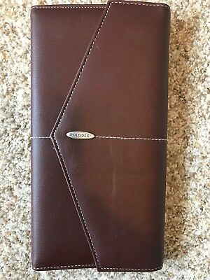 New Rolodex Faux Leather Brown 96 Business Card Book Holder Envelope Style