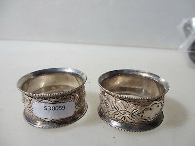 Vintage Silver Plated Napkin Rings Old Antique x2