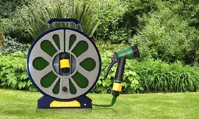 50ft (15m) Garden Flat Hose and Spray Nozzle with Reel Easy Wind Reel With 7MODE
