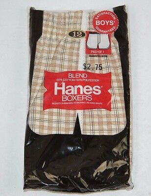 Vtg 1980 HANES Plaid Boys' BOXER 50/50 Blend Size 12 - New/Sealed