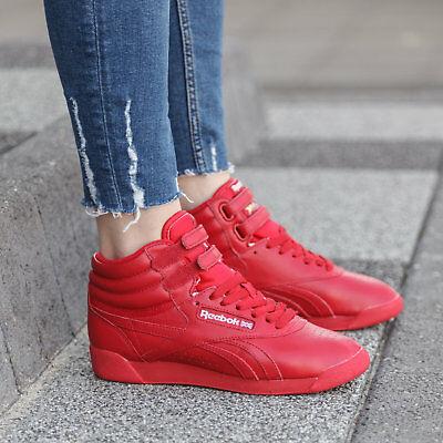 af8044903 Reebok FREESTYLE HI OG LUX RED LEATHER SNEAKERS Womens Trainers Reebok  Classic