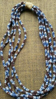 African Sandcast Powdered Glass Trade Beads Ghana Africa 6 Strands Blue & Brown