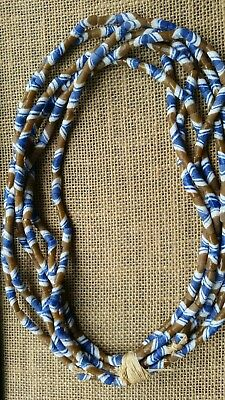 African Sandcast Powdered Glass Trade Beads Ghana Africa 6 Strands Tan & Blue