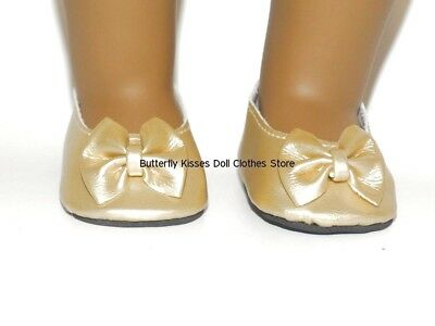 Gold Patent Slip On Shoes 18 in Doll Clothes Fits American Girl