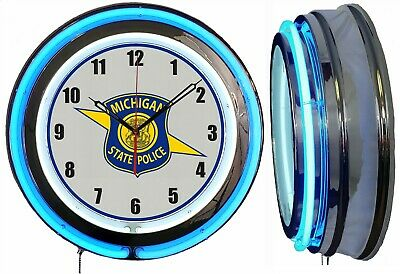 """Michigan State Police Officer Shield 19"""" Double Neon Clock Blue Neon Chrome"""