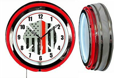"""Firefighter Thin Red Line USA Flag 19"""" Double Neon Clock Red Neon Chrome"""