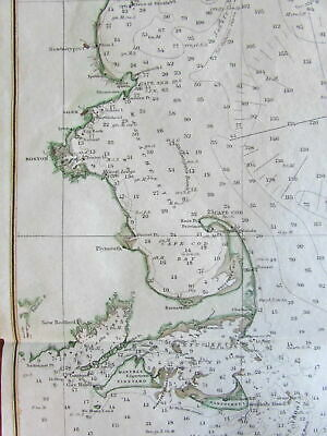 Gulf of Maine New England 1879 Nautical Chart US Coast survey MA NH ME