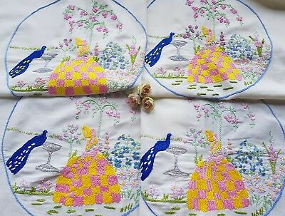 Cute Vintage Hand Embroidered Sofa&Chair Back Set with Crinoline Ladies(3 ITEMS)