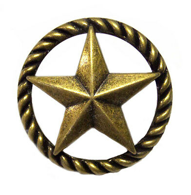 Western Texas Lone Star Rope Drawer Cabinet Pull Knob Antique Brass Finish Decor