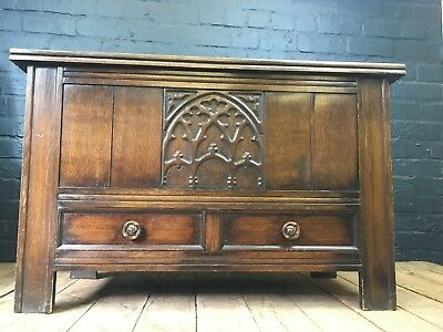 ANTIQUE 1920s CARVED OAK GOTHIC STYLE BLANKET BOX CHEST COFFER WITH DRAWERS
