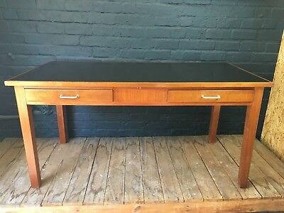 LARGE VINTAGE MID CENTURY 1950s LEATHER TOP SOLID WOOD TABLE DESK-TWIN DRAWERS