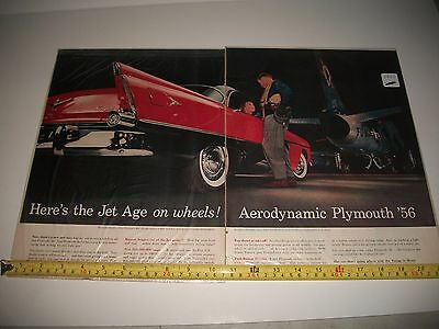 1956 Plymouth With Us Airforce Super Sabre Jet Original  2 Page Large Print Ad