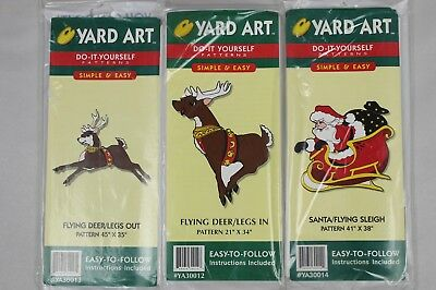 Woodcraft painting yard art do it yourself patterns christmas christmas holiday santa flying sleigh and deer do it yourself yard art patterns solutioingenieria Images