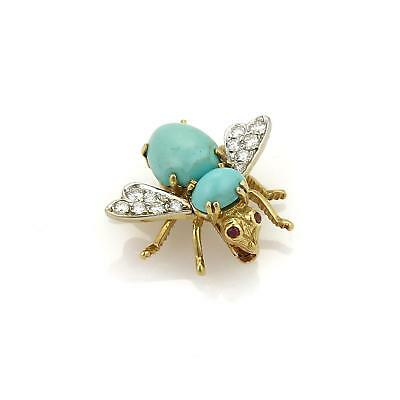 Rosenthal Diamond Turquoise & Ruby 18k Yellow Gold Bee Brooch Pin