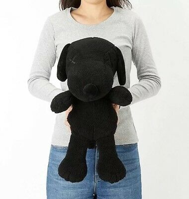 NEW Uniqlo Kaws X Peanuts Snoopy Plush Toy - Black Edition (Large) SHIP FROM CA