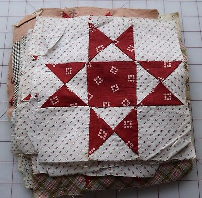 29 antique 1870's Ohio Star/Variable Star quilt blocks, red and white shirtings!