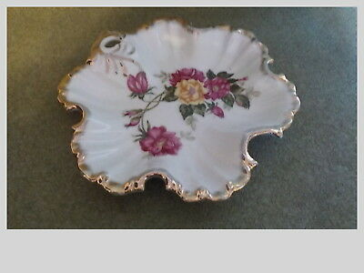 Vintage Made In Japan Trinket Dish With Roses And Heavy Gold Trim Boarder