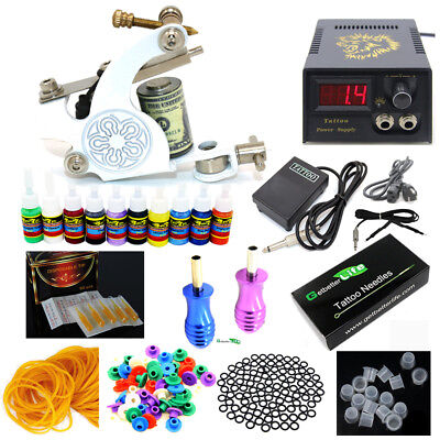 Complete Beginner Tattoo Kit Pro Machine Gun Power Supply Needle Grips Inks Set