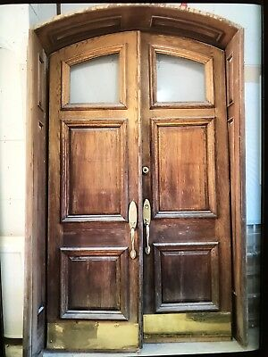 Solid Oak Arched Double Entry Door With Jamb