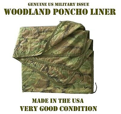 Liner Wet Weather Poncho Camp Blanket Us Military Woobie Woodland Camouflage Vgc