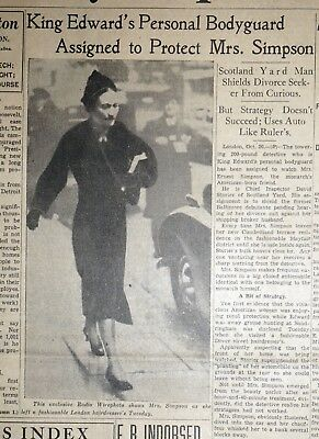 1936 Newspaper Front Page - King Edward's Bodyguard to Protect Wallis Simpson