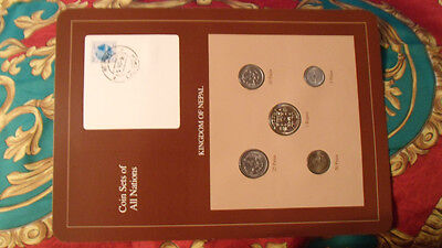 Coin Sets of All Nations Nepal w/ card 1979 - 1986 stamped 5 Nov 87