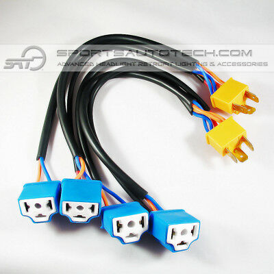 2 to 4 Bulb H4 Output Headlight Conversion Wire Extension Harness Sockets 100w