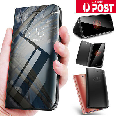 Luxury Mirror View Flip Stand Case Cover Skin Protector For iPhone X/7/8 Plus AU
