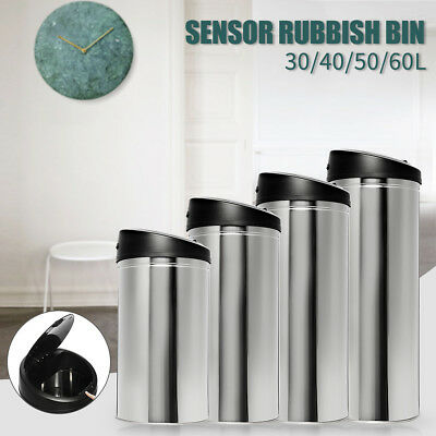 30~60L Stainless Steel Bin Rubbish Motion Sensor Waste Automatic Trash 2018