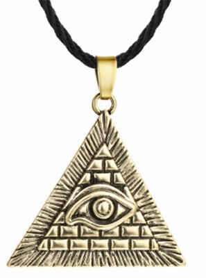 Unisex Egyptian Egypt Pyramid Evil Eye Illuminati Antique Pendant Necklace Chain