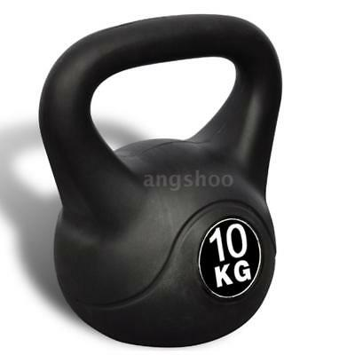 10 kg Kettlebell Home Gym Strength Exercise Concrete with Plastic Coated R0C8