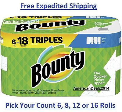 Bounty Paper Towels Roll Triple SelectASize White 6, 8, 12, 16 Rolls Pack - New