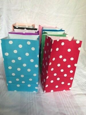 12 Polka Dot Paper  Sweet Treat Candy Wedding Party Loot Gift Bags 24x13x8cm