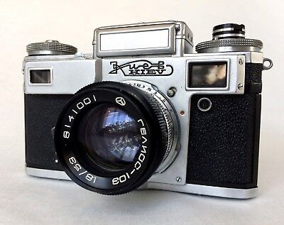 1981 Kiev-4m with Helios-103 Lens - Based on Contax III Sonnar with case - Lomo