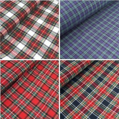 100% Brushed Cotton Fabric Tartan Wincyette Flannel Royal Stewart Black Watch